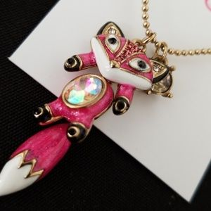 Betsey Johnson hot pink fox necklace